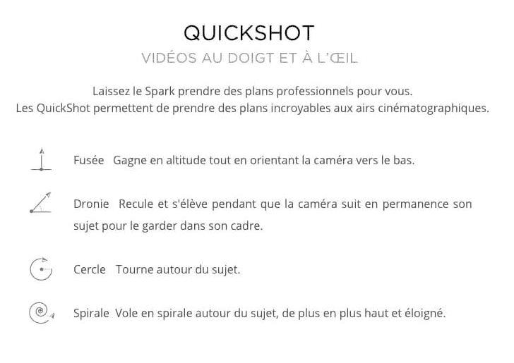 dji spark mode pilotage automatique quickshot